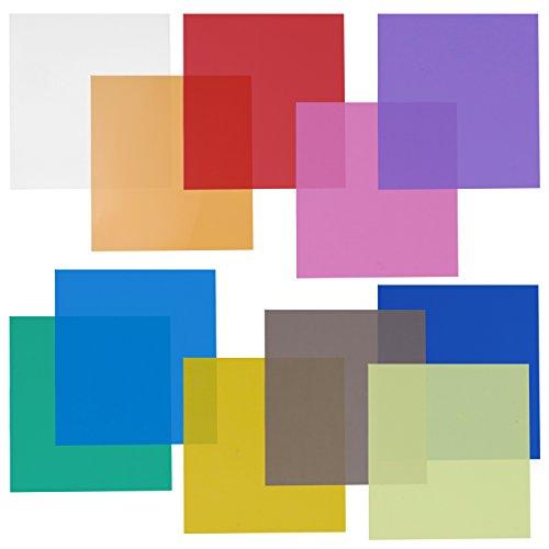 Neewer Juego de filtros de gel de color transparente de 30,4 x 30,4 cm, 11 hojas para estudio fotográfico estroboscópico linterna (verde, azul, morado, rosa, rojo, gris claro, gris oscuro