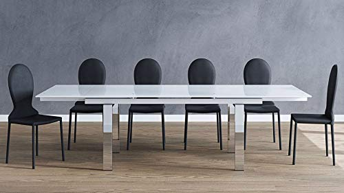 Zuri Furniture Modern Montez 106 Inch Expandable Dining Table with White Glass and Polished Stainless Steel Legs