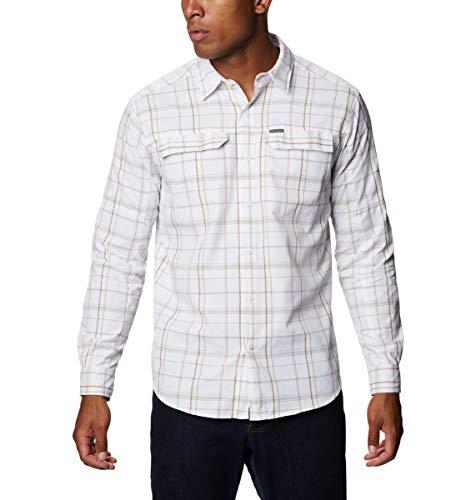 Columbia Men's Silver Ridge 2.0 Plaid Long Sleeve Shirt, Moisture Wicking, Sun Protection, White Grid Lines, X-Large
