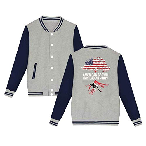 SHIEZZ American Grown with Trinidadian Roots Men's Women's Baseball Uniform Jacket Sweater Coat Gray