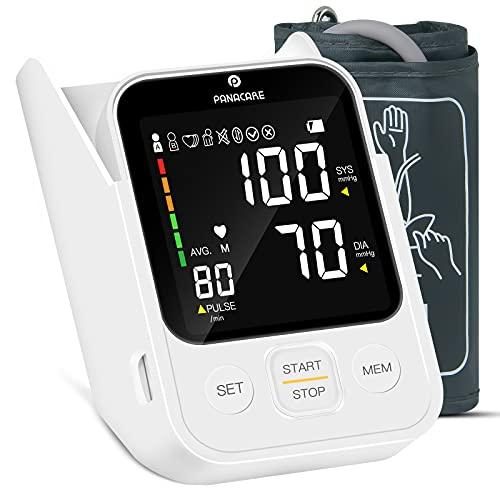 PANACARE Oberarm Blutdruckmessgeräte, Vollautomatisch Blutdruckmonitor mit 3.5\'\'Großes Display/Arrhythmie/Sprachaufforderung/Large Manschette 22-40cm/ 2 Users, Digital BP-Maschinenmessgerät