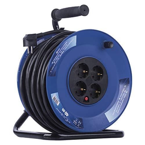 EMOS P09240M Kabeltrommel mit verstärktem Kabel, m mit 4 Steckdosen, 2,5 mm Schuko, Indoor Trommel, Schutzklasse IP20-für Innen, 40 Meter