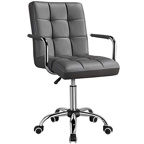 Yahee Sedia a rotelle da ufficio scrivania girevole imbottita ergonomica con rivestimento in ecopelle Altezza regolabile (Grigio)