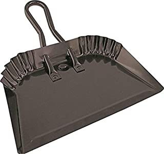 "Edward Tools Black Metal Dustpan 12"" - Heavy Duty Powder Coated Steel does not chip or bend - Precision edge for small i..."