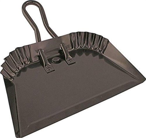 """Edward Tools Black Metal Dustpan 12"""" - Heavy Duty Powder Coated Steel does not chip or bend - Precision edge for small item sweeping - Loop handle for comfort/hanging (1)"""