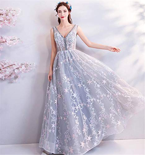 LYJFSZ-7 Hochzeitskleid,Hochzeitskleid,Elegantes Graues Brauthochzeits-Partykleid, Tiefe V Spitze-Perle Bestickte Hochzeitskleid Brautkleid No.74249