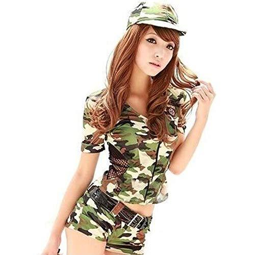 Conjuntos De Lencería Para Mujer Mujeres Adultas Camuflaje Ejército Uniforme Militar Cosplay Halloween Carnaval Disfraz De Policía Disfraces Sexy Top + Pantalones Cortos + Sombrero-Ejército Verde_M