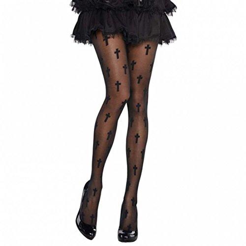 NET TOYS Gothic Strumpfhose mit Kreuzen Halloween Damenstrümpfe Damen Strümpfe Tights Damenstrumpfhose mit Kreuz Netzstrumpfhose Feinstrumpfhose