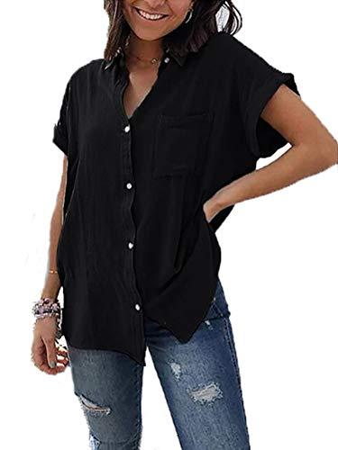 Yookeor Damen Bluse Sommer Elegant Kurzarm V-Ausschnitt Hemdbluse Button Down Shirts Tunika Tops mit Brusttaschen