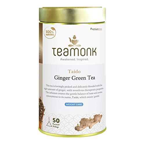 Teamonk Taido High Mountain Ginger Green Tea Bags - 50 Tea Bags | 100% Natural Ginger Tea | Ginger Tea for Weight Loss | Slimming Tea Bags | No Additives