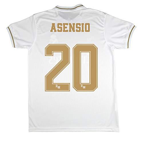 Real Madrid Trikot für Kinder zur Erstausstattung der Jahreszeit 2019-20 offizielles Lizenzprodukt, Farbe Weiß, 20 Asensio, Talla 12