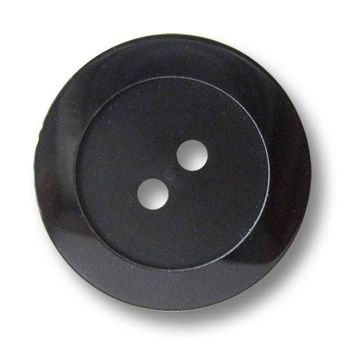 Knopfparadies - 8er Set schlicht Elegante Schwarze Zweiloch Kunststoffknöpfe mit breitem Rand/Schwarz glänzend & matt/Kunststoff Knöpfe/Ø ca. 23mm
