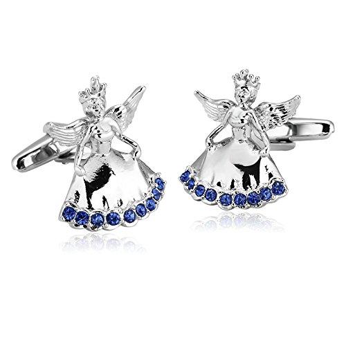 Blisfille Gemelos 2 Pieces Gemelos Queen Gemelos de Acero,Angel Queen con Diamantes Gemelos Camisa Hombre Plata Azul