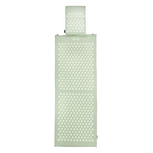 Akupressur-Set VITAL XL: Akupressurmatte (130 x 50cm) & Akupressurkissen im günstigen Set, vitalisierende Matte für den Rücken und Kissen für den Nacken (pastellgrün)