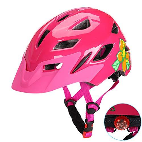 BSTEle Cascos de Bicicleta para niños Casco de Bicicleta Ultraligero con luz LED y Visera Solar Desmontable Casco con Ruedas para patineta