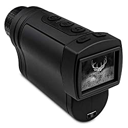 Hike Crew Night Vision Monocular, Infrared Digital Binocular Scope for Hunting, 400m Viewing Distance, LCD Screen, 2X Magnification, 7 Levels of Brightness, Carry Case Included (Monocular)