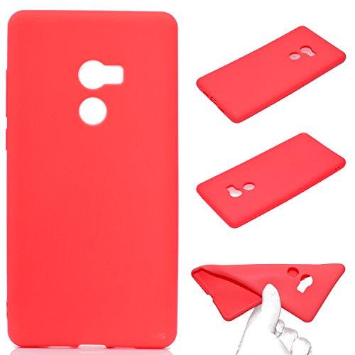 LeviDo Coque Compatible pour Xiaomi Mi Mix 2 Étui Silicone Souple Bumper Antichoc TPU Gel Ultra Fine Mince Caoutchouc Bonbons Couleurs Design Etui Cover, Rouge