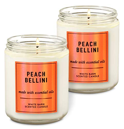 Bath & Body Works Peach Bellini Single Wick Scented Candle with Essential Oils 7 oz / 198 g Each Pack of 2