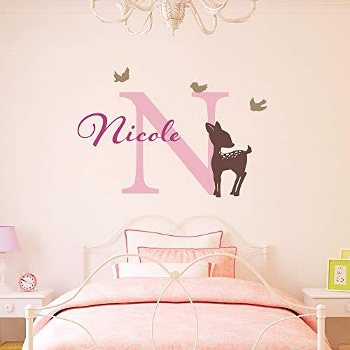 wandaufkleber spruch schlafzimmer Art Decor Little Bambi Deer Butterlfies Mädchen Name DIY Mädchen Kinderzimmer Custom
