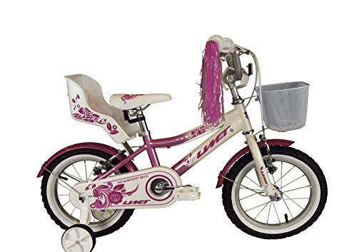 Umit 14' Diana Bicicleta Infantil Pulgadas niña, Unisex niños, Rosa/Blanca