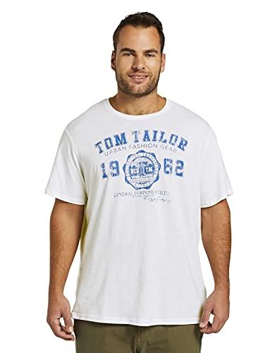 TOM TAILOR Men+ Plussize Logo T-Shirt Camiseta, Blanco (White 20000), XXXXL para Hombre