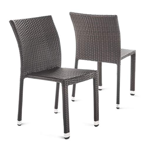 Christopher Knight Home Dover Outdoor Wicker Armless Stacking Chairs with Aluminum Frame, 2-Pcs Set, Multibrown
