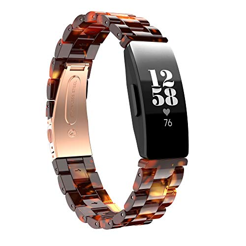 BaiHui Resin Watch Band Compatible with Fitbit Inspire HR Bands/Inspire Band,Resin Bracelet with Stainless Steel Buckle Replacement Strap Compatible for Fitbit Inspire