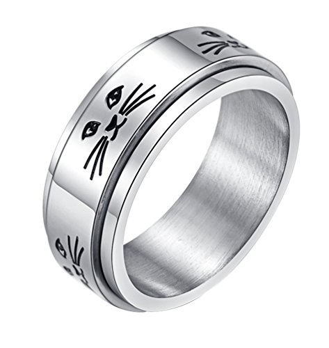 ALEXTINA Men's Women's Stress Relief Stainless Steel 8MM Spinner Ring Animal Cat Band Size 9