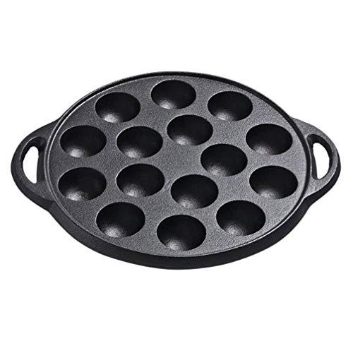 Cabilock Sartén de hierro fundido Aebleskiver para escarabajos, caracoles, setas, escarabajos, platos, platos de 15 compartimentos, caracol para cocinar