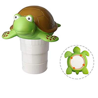Turtle Chlorine Floater, Collapsible Floating Chlorine Dispenser, Max to 4pcs 3in Chlorine Floater, Release Adjustable for Indoor Outdoor Swimming Pool Hot Tub SPA (Turtle)