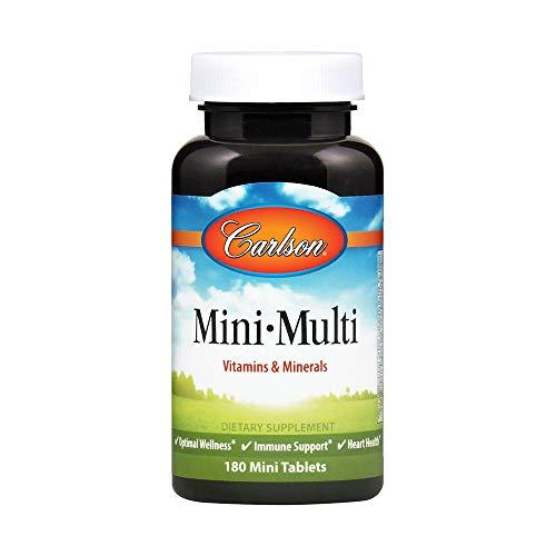 Carlson - Mini-Multi, Small Multivitamin Tablets, Vitamins & Minerals, Immune Support & Heart Health, Optimal Wellness, Mini Multivitamins, Multivitamin Mini Tabs, Easy to Swallow, 180 Mini Tablets