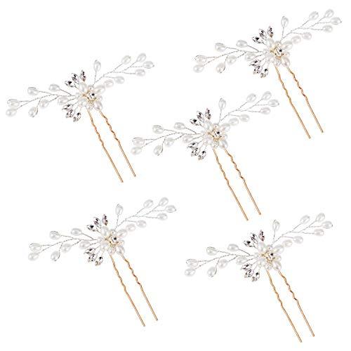 Hochzeit Haarnadeln Brautschmuck Haarschmuck Perlenrhinestone Haarclip Haar Zubehör für Frauen und Mädchen 5 Stück