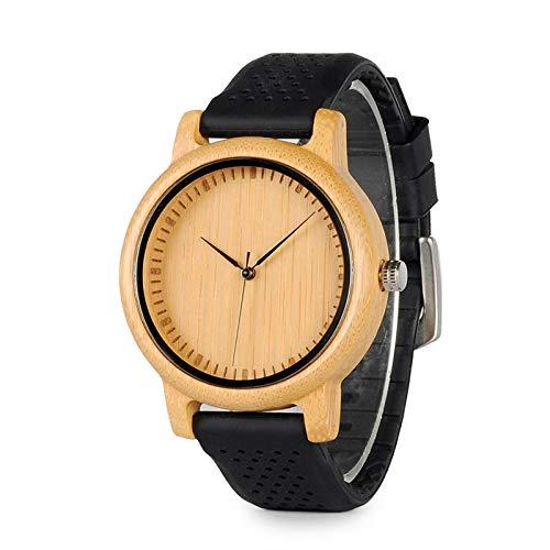 Reloj de Madera para Hombre, Mujer, Relojes de Pulsera de Cuarzo, Correa de Cuero para Hombre y Mujer, 44 mm-B08