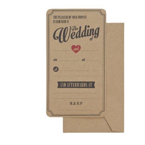 Ginger Ray Lot de 10 invitations de mariage en papier kraft