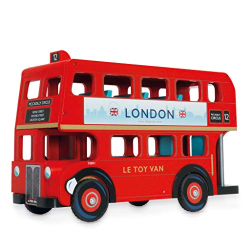 Le Toy Van - Cars & Construction Iconic London Double Decker Vehicle Toy with Bus Driver Figure Play Set | Play Vehicle Role Play Toys - Suitable For 3 Year Old +