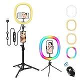 Nuevo, Zacro 12' Anillo de luz, Aro de Luz LED con 1.6 m Regulables Trípode y Control Remoto, RGB 10 Colores y 16 Modos Soporte de Luz para Maquillaje,Youtube,Selfie,Tiktok,Vlog,Transmisión en Vivo