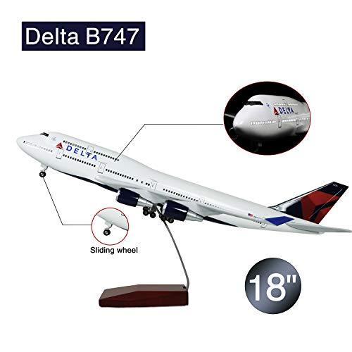Lose Fun Park 46cm LED-Beleuchtung 1:130 Modellflugzeug Delta Boeing 747 mit Fahrwerk Flugzeug Geschenk oder Deko