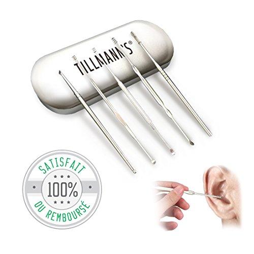Tillmann's Cure Oreille.5 Cure-Oreilles Ecologique en acier inoxydable-Nettoyant cérumen, cire intra-auriculaire-Outils médicaux en acier poli inoxydable-5 instruments livrés dans leur boite rangement
