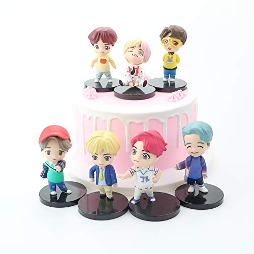 K-POP BTS Cake Topper Mini Figurine 7pc Figurines Bangtan Boys Gâteau Cake Topper Mini Figurine pour Army Birthday Party Supplies