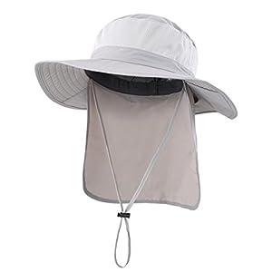 (コネクタイル)Connectyle アウトドア メンズ UPF50+ メッシュ サファリハット つば広 日焼け防止 農作業 帽子 UVカット ハット ガーデニング 釣り帽 ライトグレー