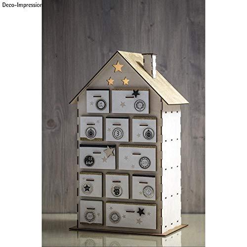 Hobby Welt kreativ Adventskalender Holzhaus Bausatz, mit Zahlenstickern 1-24, zum Bemalen und Gestalten