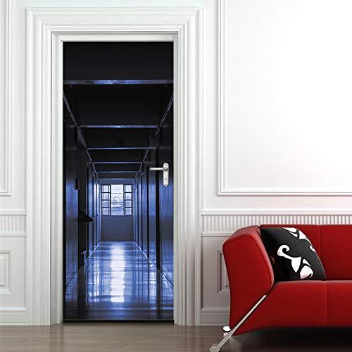 Türaufkleber 3D Scary Night Dark Klassenzimmer Krankenhaus Wandbild Poster Home Decor Wall Doors Aufkleber Decals Wall Door Dekoration Neueste 77 * 200cm