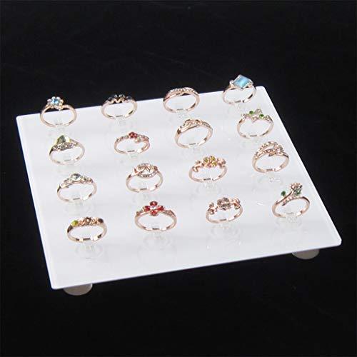 Lowral - Soporte cuadrado de acrílico transparente para joyas, soporte para fotografía, 16 anillas, soporte de exhibición