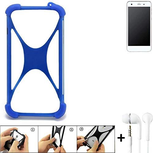 K-S-Trade® Handyhülle Für Vestel V3 5570 Bumper Schutzhülle Silikon Schutz Hülle Cover Case Silikoncase Silikonbumper TPU Softcase Smartphone, Blau (1x), Headphones