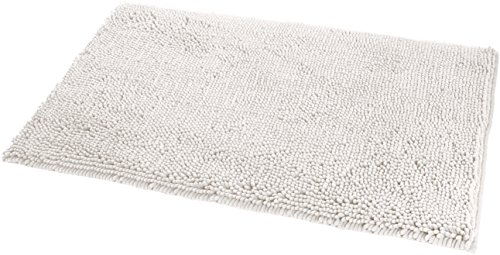 Amazon Basics Tapis de bain antidérapant à poils longs en microfibre, 0,53 x 0,86 m, Blanc