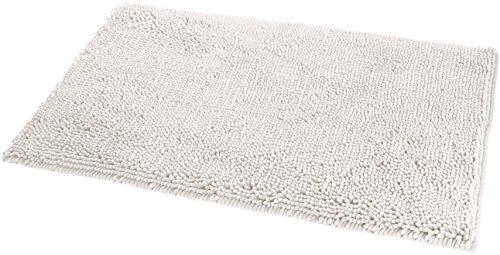 Amazon Basics Non-Slip Microfiber Shag Bathroom Rug Mat, 21' x 34', White