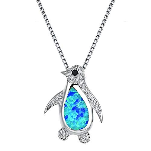 YioKpro Mode créative Opale Zircon Pingouin Animal Collier Pendentif Femmes Romantique Banquet Accessoires de Mariage Charme Bijoux Cadeau