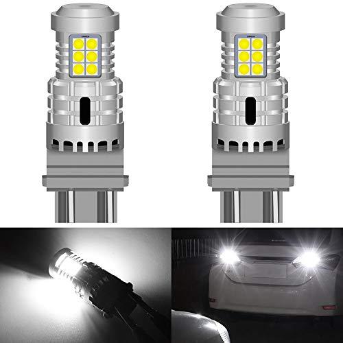 Fpm Cola luz de Freno LED 2 unids P27 / 7W 3157 LED Error CANBUS Free No Hiper Flash Señal de Giro Lámpara inversa T25 3156 P27W Luces de automóvil Amber Rojo Blanco 12V DC (Emitting Color : White)