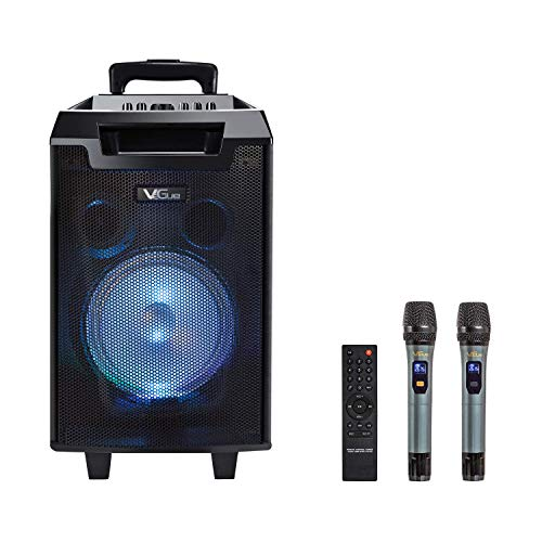 VeGue Wireless Karaoke Machine, Portable PA System Bluetooth Speaker with 8'' Subwoofer, Wireless Singing Machine for Home Karaoke, Party, Meeting, Outdoor/Indoor Activities