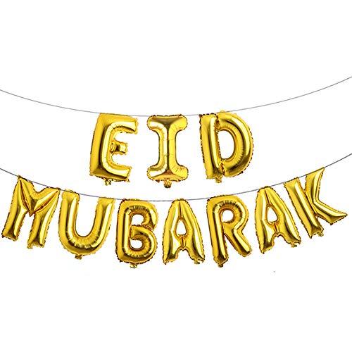 16inch Rose Gold Eid Mubarak Foil Balloons Party Decoration Supplies Ramadan Decoration Gold EID Balloons for Muslim EID Ballon (EID Gold)